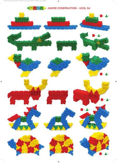 Przykładowe konstrukcje z klocków Morphun, krokodyl, ptaszek, koń na biegunach
