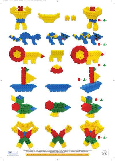 Budowle z klocków konstrukcyjnych Morphun, lew, łódka, kot