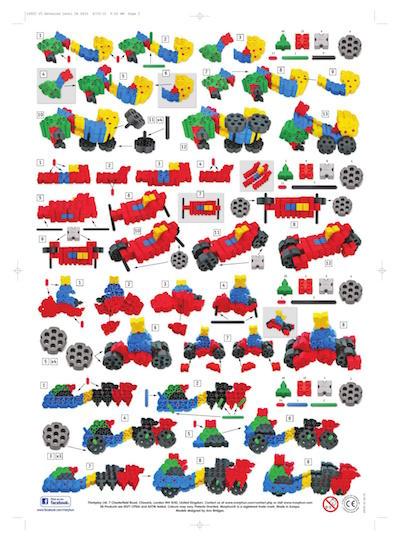 Różne konstrukcje z klocków Morphun, pojazd, wózek
