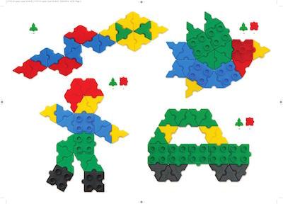 Przykładowe proste budowle z klocków konstrukcyjnych Morphun, ptak, człowiek, auto