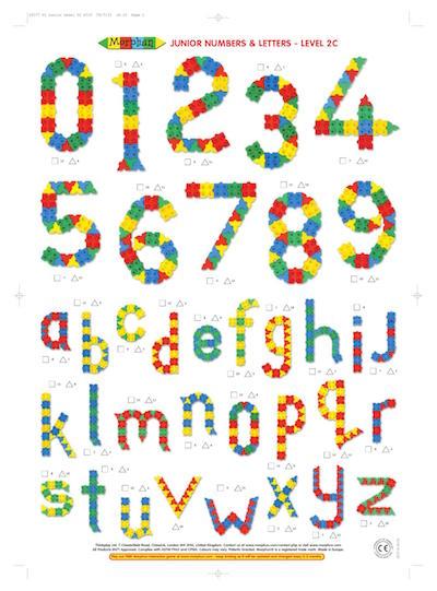 Budowle edukacyjne z klocków Morphun, cyfry, litery