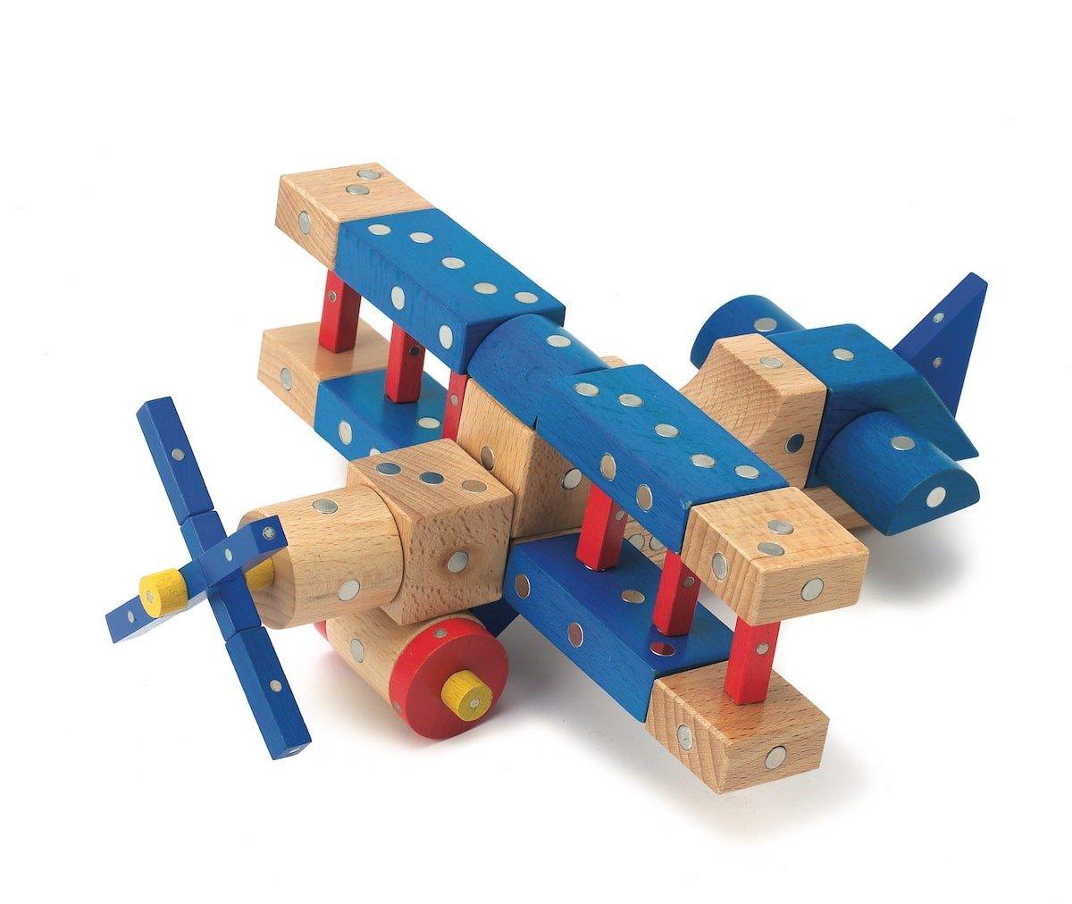 Niebieski samolot zbudowany z klocków magnetycznych dla dzieci