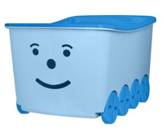 Niebieskie pudełko do przechowywania klocków