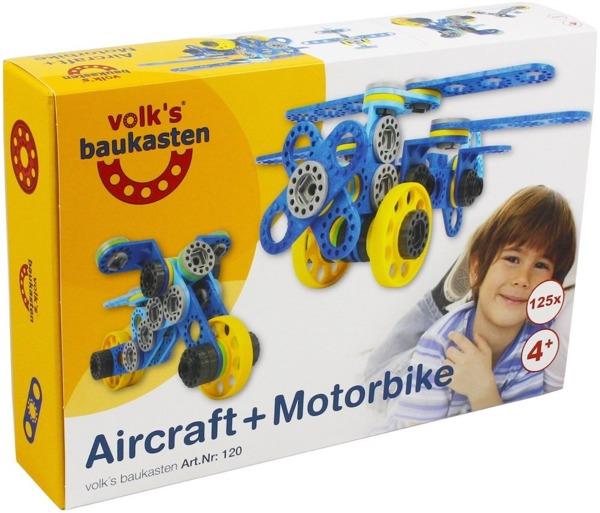 Klocki Volk's Baukasten Samolot i Motocykl 125 el.